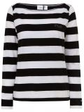 O'Neill Essential Striped Women's Long Sleeve T-Shirt Black Aop W White