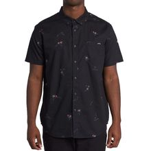 Billabong Sundays Mini Men's Short Sleeve Shirt Black Aqua Lowest Price
