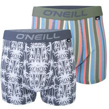 O'Neill Palm Stripe 2 Pack Grey Multi Men's Boxers Lowest Price