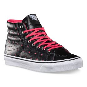 Vans Sk8-Hi Slim Leather Perf Hearts Women's Shoes Lowest Price